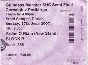Ticket, Cork, 2007