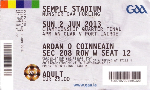 35 Waterford v Clare 2 June 2013 Ticket