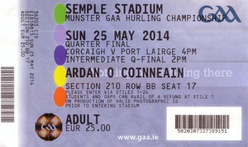 23 Waterford v Cork 25 May 2014 match ticket